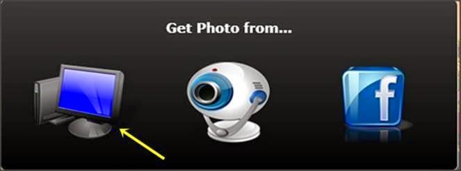 ícones de onde você vai retirar a foto