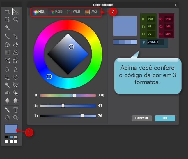 caixa cores codigo photoshop